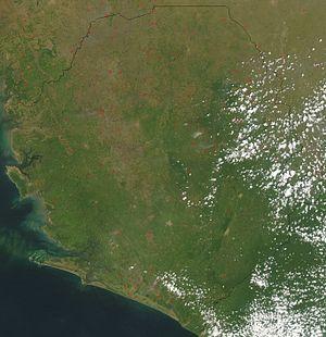 Outline of Sierra Leone - An enlargeable satellite image of Sierra Leone