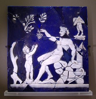 Dionysus - Satyr giving a grapevine to Bacchus as a child; cameo glass, first half of the 1st century AD; from Italy