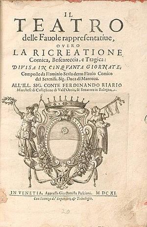 Flaminio Scala - Title page of Il teatro delle favole rappresentative, (1611).