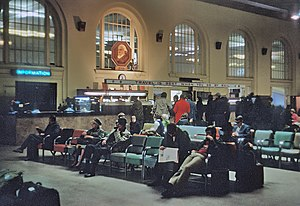 Minneapolis Great Northern Depot - Passengers waiting at Minneapolis Great Northern Depot in April 1971