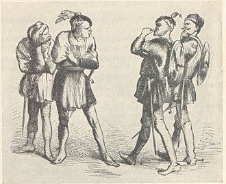 Characters in Romeo and Juliet - At the beginning of the play, Gregory and Sampson (right) quarrel with Abram and Balthazar.