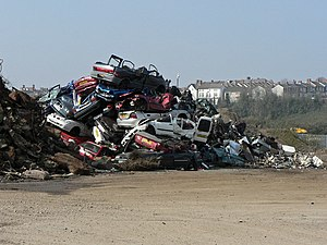 Vehicle recycling - Scrap vehicles at Barry Docks