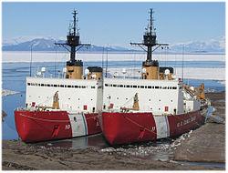 Polar Star Alongside Her Sister Ship USCGC Sea Near McMurdo Station Antarctica