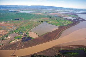 Petaluma River - The mouth of the Petaluma River on San Pablo Bay. View is to the northeast.