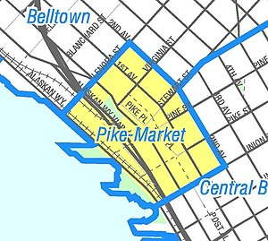 "Pike Place Market - ""Pike-Market"" neighborhood as represented in the City Clerk's Seattle Neighborhood Atlas. The heavy line on the map labeled ""Alaskan Way Viaduct"" is part of Washington State Route 99 (SR-99). The unlabeled street inland from SR-99 as it passes the market is Western Avenue."