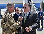 Secretary Pompeo is Greeted by General Nicholson at Bagram Airfield (28436576057).jpg