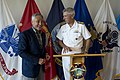 Secretary of Defense Chuck Hagel laughs with Navy Admiral Samuel Locklear.jpg