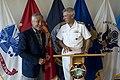 Secretary of Defense Chuck Hagel laughs with Navy Admiral Samuel Locklear.jpg