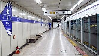 Balsan station - Station platform in September 2018