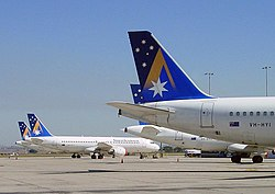 Several Airbus A320 of Ansett Australia parked at Melbourne Airport.jpg