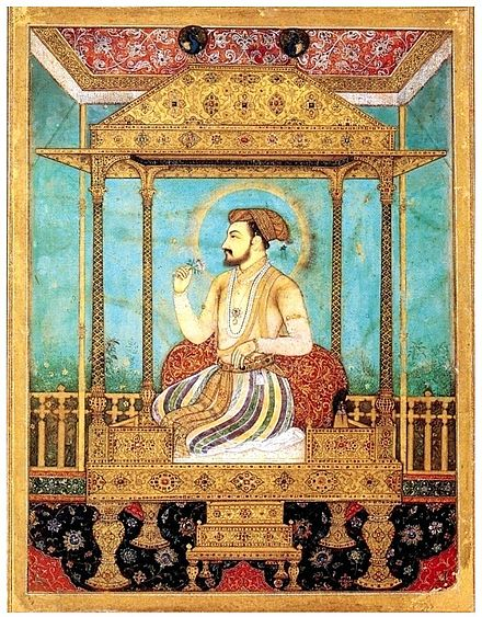 Shah Jahan seated on a minor throne, which probably shared some stylistic elements with the Peacock Throne Shah Jahan op de pauwentroon.jpg