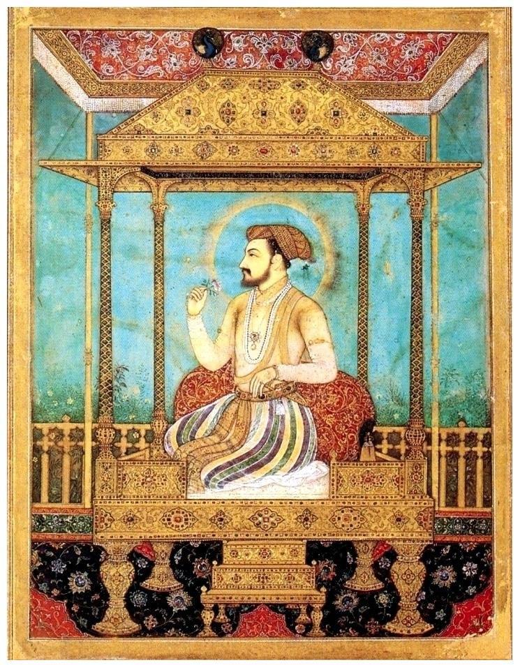 Shah Jahan op de pauwentroon