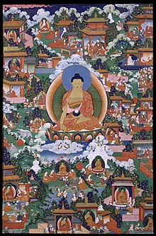 Painting with Gautama Buddha with scenes from Avadana legends depicted