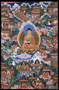 Painting with Gautama Buddha with scenes from Avadana legends depicted.