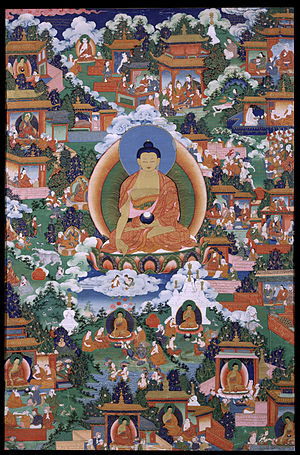 Faith in Buddhism - Gautama Buddha with scenes from Avadāna legends depicted.