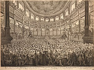 William King (St Mary Hall) - Engraving by Thomas Worlidge of the Sheldonian Theatre on the occasion of the 1759 installation of the Chancellor of Oxford University.