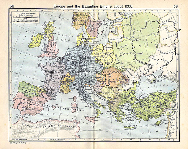 Древнерусское государство (светлозелёным цветом) в эпоху князя Владимира Великого