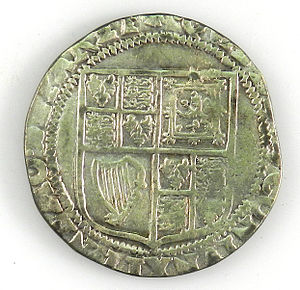 Jacobean debate on the Union - Shilling coin of James I (counterfeit copy), reverse with coat of arms