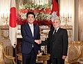 Shinzo Abe with HM King Norodom Sihamoni.jpg