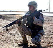 Soldier armed with a shotgun