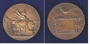 Pigeon post - Siege of Paris 1870-1871, pigeon post medal by the artist Charles Degeorge.
