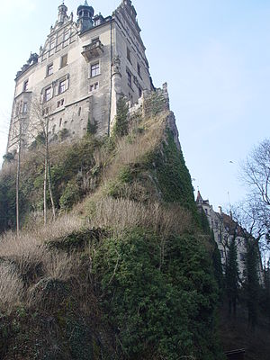 Sigmaringen Castle - The castle lies on the Danube, atop a 115-foot chalk cliff known as the Schlossberg