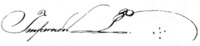 Kursiva subskribita Imperador sekvita per manuskripto P kaj 5 punktoj aranĝis kiel kruco