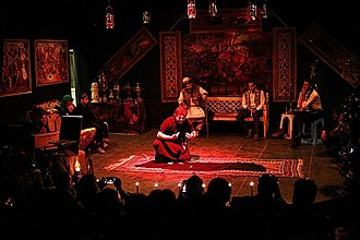 Iranian folklore - Image: Singing storytelling performance of the story of Shahnameh in Qazvin 2