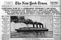 Sinking of the Lusitania at NYT title, May 8th, 1915.jpg