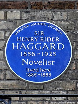 Sir henry rider haggard   1856 1925 novelist lived here 1885 1888