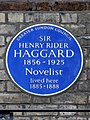 Sir Henry Rider Haggard - 1856-1925 Novelist lived here 1885-1888.jpg