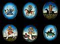 Six circular gouache paintings of Hindu gods, 19th century Wellcome V0047494.jpg