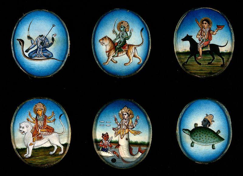 File:Six circular gouache paintings of Hindu gods, 19th century Wellcome V0047494.jpg