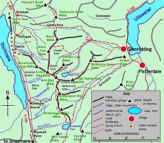 Helvellyn - Sketch map of the topography of Helvellyn, with access routes Click to enlarge