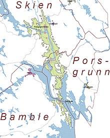 Flusslauf der skienselva (zwischen norsjø und frierfjord)