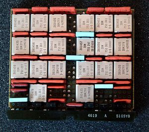 IBM Solid Logic Technology - A double width SLT card. The square metal cans contain the hybrid circuits.