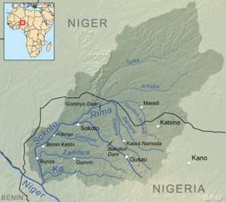 Argungu - Sokoto river basin, Argunga to the west, downstream from Sokoto