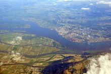 Aerial view of the town of Sorel-Tracy, the Saint Lawrence River and the Sorel Islands.