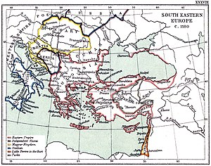 Battle of Myriokephalon - A map of the Byzantine Empire showing the location of Myriokephalon.
