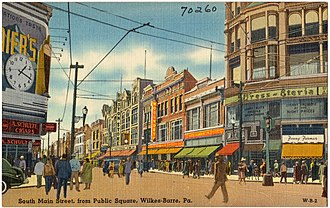Wilkes-Barre, Pennsylvania - South Main Street from Public Square (c. 1940)