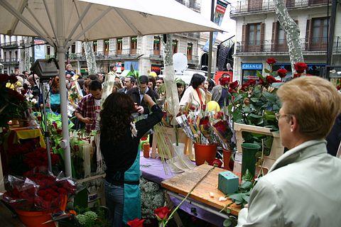 Spain Barcelona Diada Sant Jordi Ramblas Florista