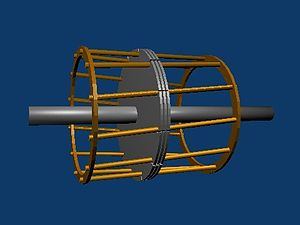Induction motor - Squirrel cage rotor construction, showing only the center three laminations