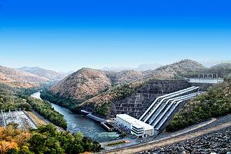 Srinagarind Dam - Power station as viewed from atop dam.
