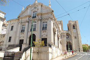 Santo António Church - View of the main façade of the church with the cathedral in the background.