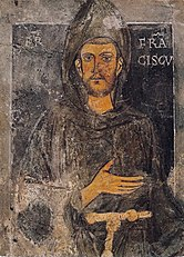The oldest picture of Francis of Assisi that was made during his lifetime, wall painting in Sacro Speco in Subiaco