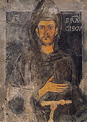 Abbey of Saint Scholastica, Subiaco - Oldest known portrait in existence of St. Francis of Assisi,  dating back to his retreat to Subiaco (1223–1224): he is depicted without the stigmata.