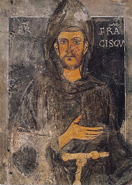 Francis of Assisi, founder of the Order of Friars Minor; oldest known portrait in existence of the saint, dating back to St. Francis's retreat to Subiaco (1223-1224) StFrancis part.jpg