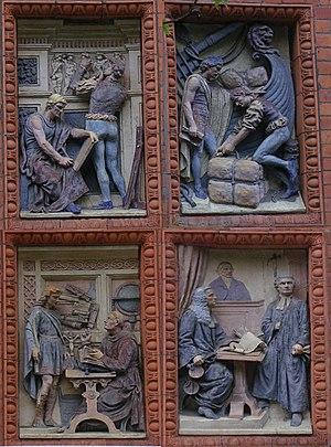 St Bede's College, Manchester - Details from four relief panels by Tinworth and Doulton near the main entrance, Vaughan building