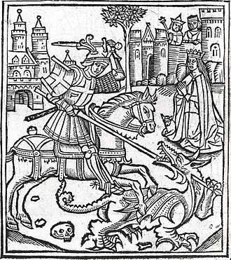 "Alexander Barclay - Woodcut Frontispiece from Alexander Barclay's ""Lyfe of Seynt George"" Westminster 1515"