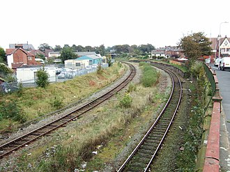 St Luke's railway station - The present-day site of St Luke's railway station. The gap between the tracks shows where the Preston platform used to stand.